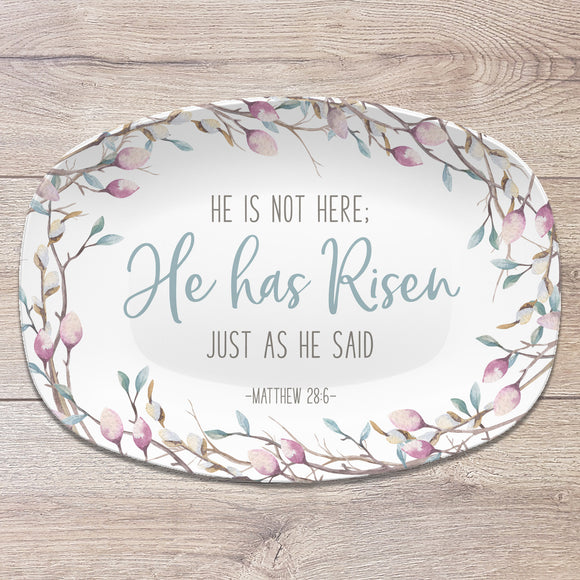 Easter Scripture Platter | Matthew 28:6 | Custom Bible Verse