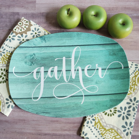 Custom Farmhouse Inspired Script Platter | Aqua Wood | Choice of Text | Gather - Thankful - Blessed - Celebrate - Grateful - Custom