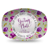 Neighborhood Giving Platter | Boho Purple Floral | Personalized Plate
