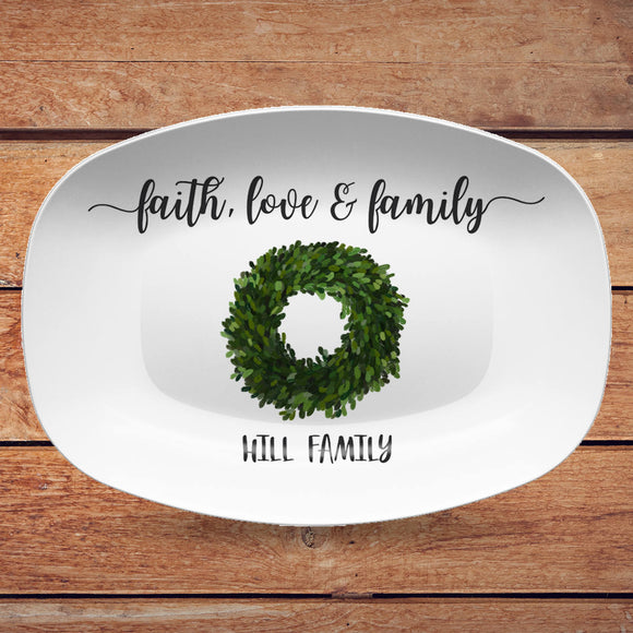 Faith, Love & Family | Grateful, Joyful, Blessed | Personalized Platter | Boxwood Greenery or Red Berry Wreath