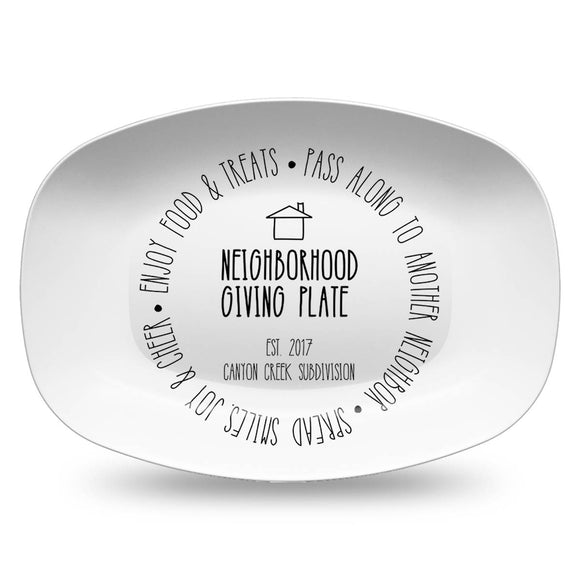 Neighborhood Giving Platter | Black & White | Personalized Plate