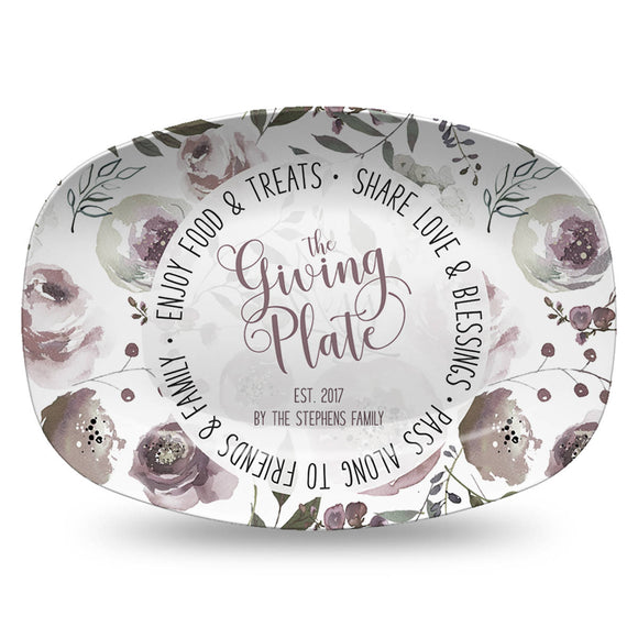 Neighborhood Giving Platter | Boho Gray Floral | Personalized Plate