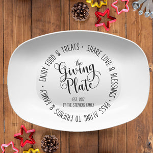 Giving Platter | Farmscript Black & White | Personalized Plate | Customizable Color
