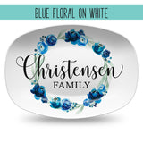 Custom Floral Wreath Personalized Platter | Choose Your Design | Wedding • Shower • Anniversary • Housewarming