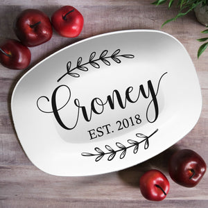 Custom Farmhouse Laurels Personalized Platter | Wedding • Shower • Anniversary • Housewarming