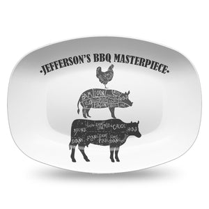 BBQ Butcher Cuts Custom Personalized Platter | Father's Day • Grill • Butcher Cuts • Summer • Outdoors • Cow • Pig • Chicken