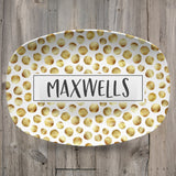 Patterned Personalized Custom Platter | Aztek • Dots • Black and White • Blue and White
