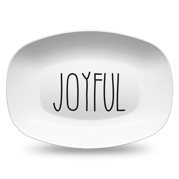 HandScript White Platters | Gather - Thankful - Blessed - Celebrate - Grateful - Joyful - Noel - Tis The Season - Peace - Custom