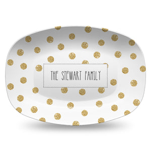 Gold Dots Personalized Holiday Platter | Christmas | Hanukkah