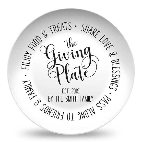 Giving Plate | Farmscript Black & White | Personalized Plate