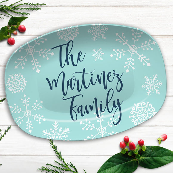 Blue Winter Snowflake Personalized Platter | Christmas Family Custom Platter