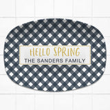 Happy Easter / Hello Spring Gingham | Personalized Platter | Mint - Navy - Pink - Yellow