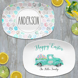 Vintage Truck Happy Easter | Personalized Platter | Blue Mint Pink