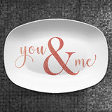 You and Me | Mr and Mrs | Personalized Platter | Valentine • Wedding • Shower • Anniversary