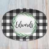 Fall Buffalo Plaid Thanksgiving Personalized Platters