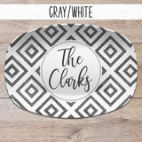 Distressed Diamond Aztek, Boho, Farmhouse Style  Personalized Platters