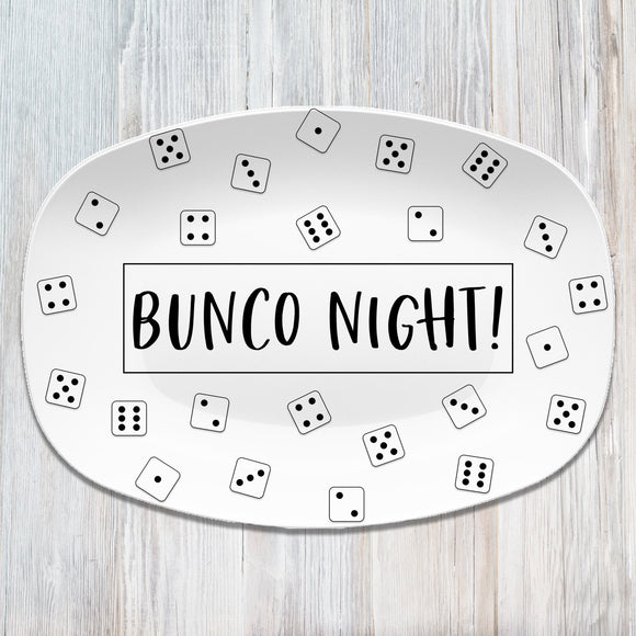 Bunco Night - Let's Roll - Dice Game - Custom Personalized Platter