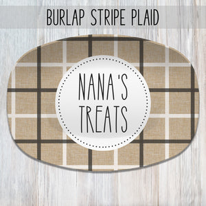 Burlap Plaid Personalized Platters