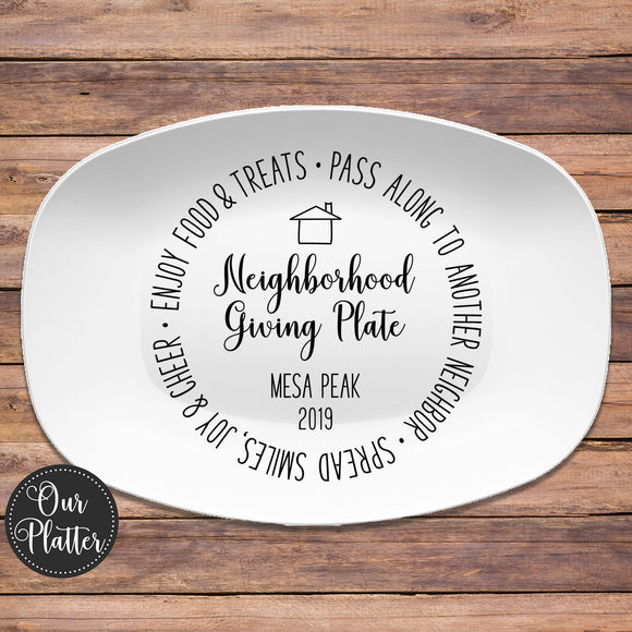 Neighborhood Giving Plate — Black & White or White Wood