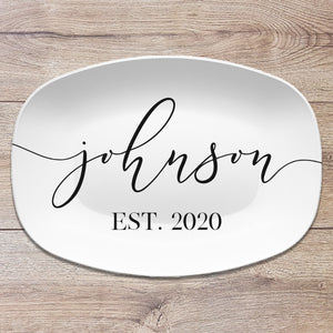Script Family Name Personalized Platter | Farmhouse * Boho * Wedding * Anniversary