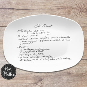 Handwritten Recipe Personalized Platter | Handwriting • Recipe Card • Keepsake