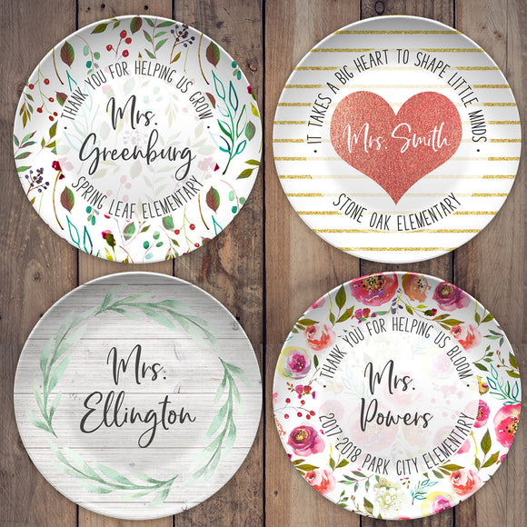 Teacher Appreciation Personalized Plates