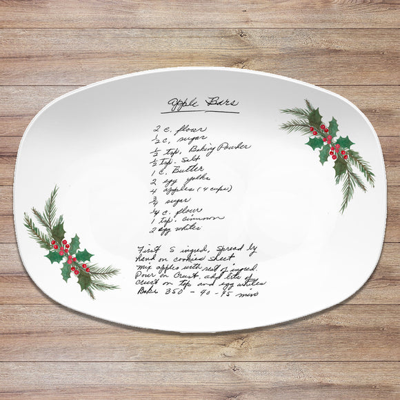 Christmas Handwritten Recipe Personalized Platter | Handwriting • Recipe Card • Keepsake