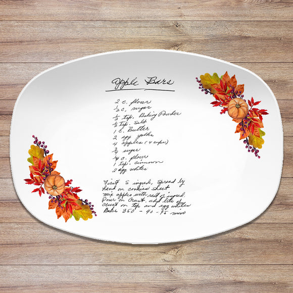 Thanksgiving Fall Handwritten Recipe Personalized Platter | Handwriting • Recipe Card • Keepsake