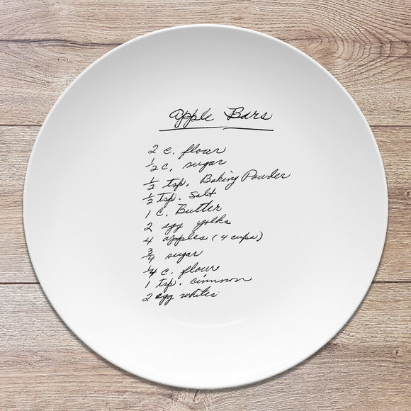 "Recipe/Note Handwritten Personalized Plate | 10"" Round"