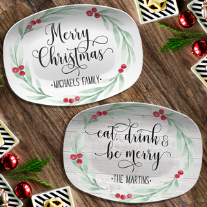 Large Holly Wreath Farmhouse Personalized Platter Our Platter