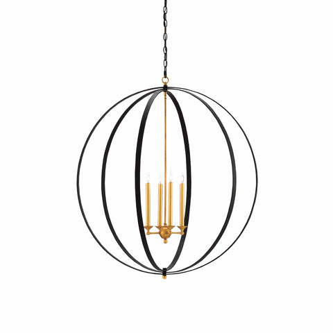 Artilla black gold metal orb chandelier