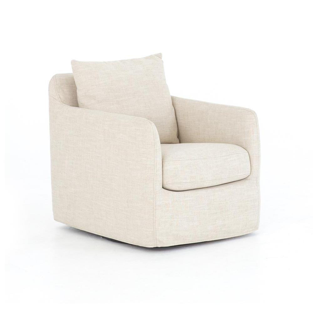 Ventura Ivory Linen Slipcovered Swivel