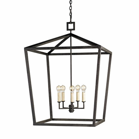 Bentley black iron lantern chandelier large