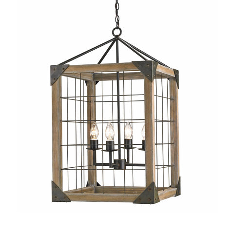 Atmore ash wood iron lantern chandelier