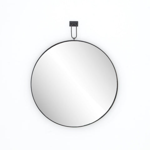 Kohler black iron round wall mirror