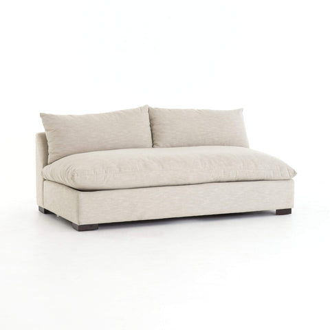 Roscoe cream performance fabric armless sofa