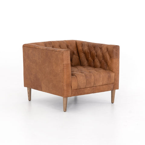Robinson camel brown leather tufted chair