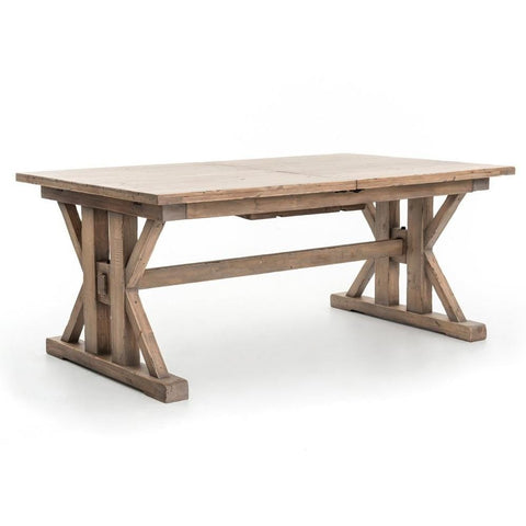 Calloway extension reclaimed pine wood dining table