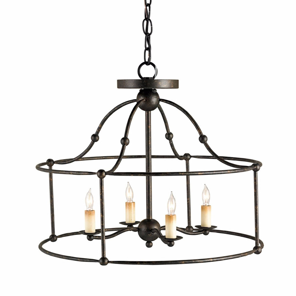 Farwell black iron metal semi-flush mount