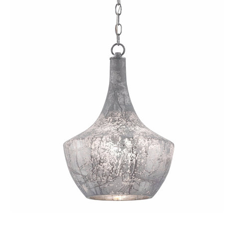 Alyssa silver grey mercury glass pendant light
