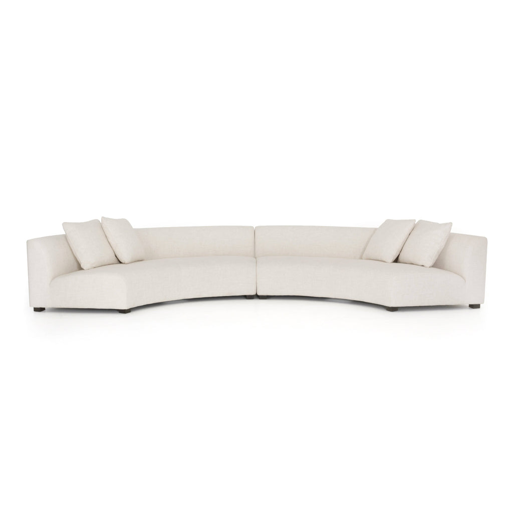 Crescent off-white linen upholstery sectional 2 piece