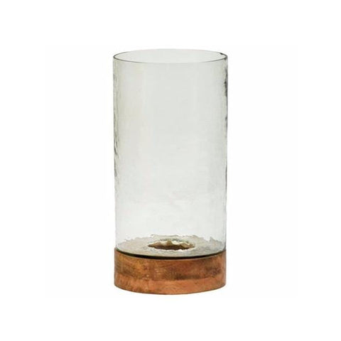 glass hurricane with wooden base