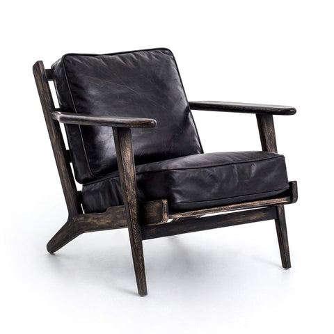 Dalen Adirondack chair black leather oak