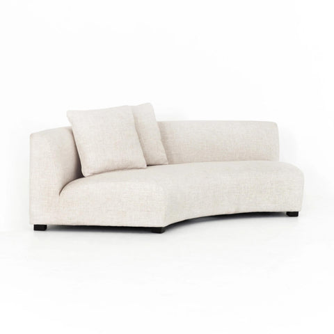 Crescent off-white curved upholstery armless sofa
