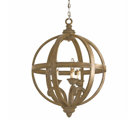 Aria orb chandelier wood brown iron small