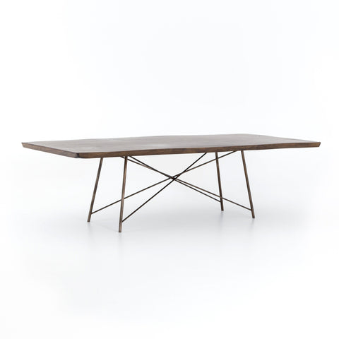 Tess smoked brown live edge saman wood dining table