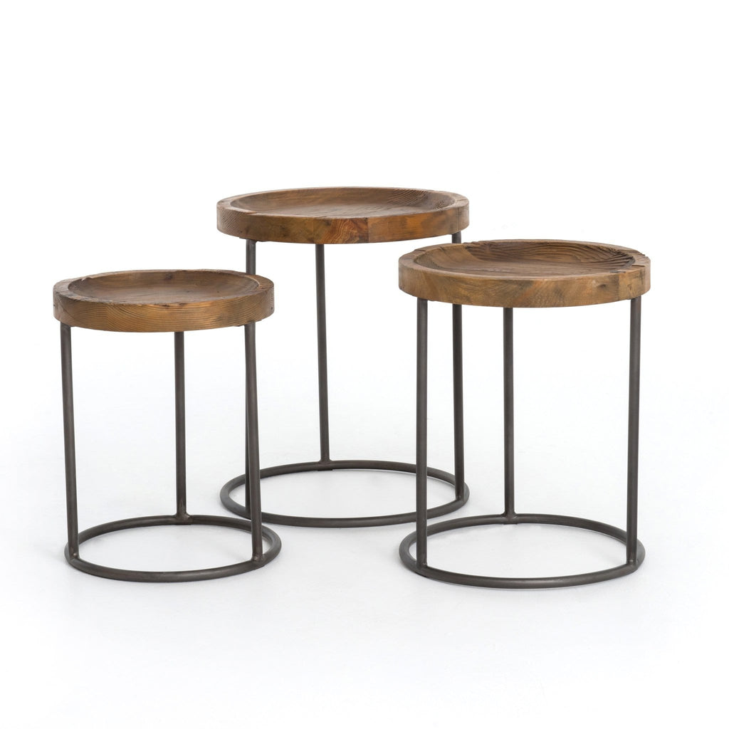 Allure reclaimed pine wood iron nesting end tables