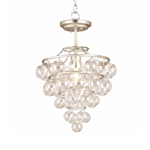 Aston silver glass semi-flush mount light