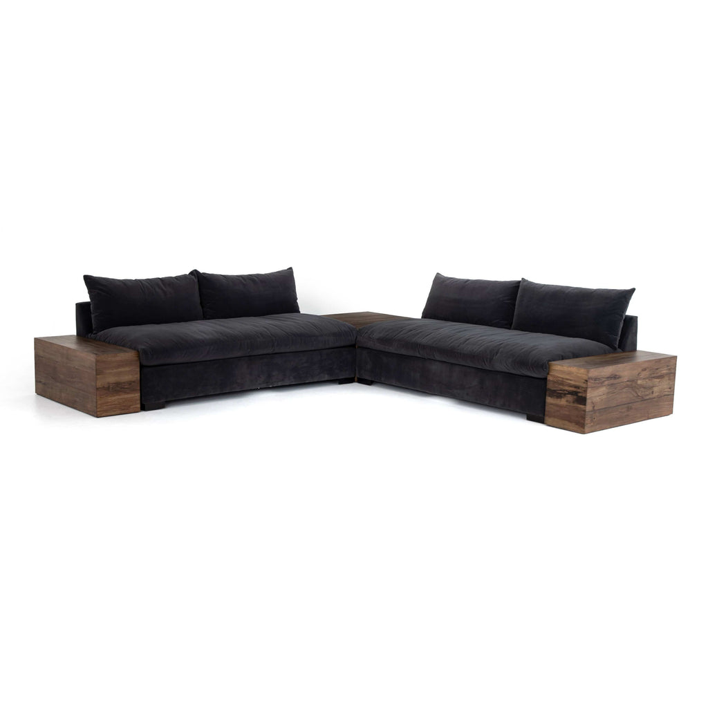 Roscoe charcoal performance fabric armless sectional 2 piece