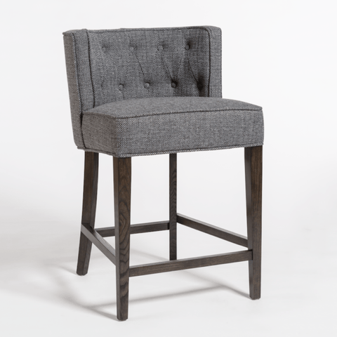 Dune pebble grey upholstery tufted stool
